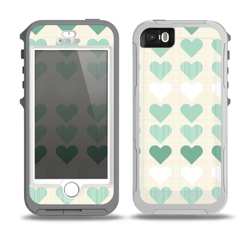 The Scratched Vintage Green Hearts Skin for the iPhone 5-5s OtterBox Preserver WaterProof Case