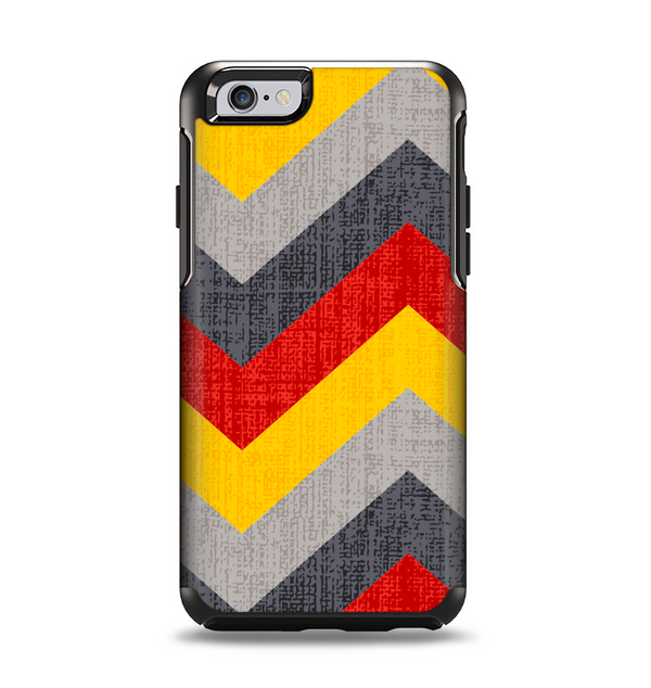 The Scratched Yellow & Red Accented Chevron Pattern V3 Apple iPhone 6 Otterbox Symmetry Case Skin Set