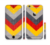 The Scratched Yellow & Red Accented Chevron Pattern V3 Sectioned Skin Series for the Apple iPhone 6 Plus