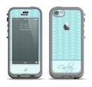 The Seamless Blue Subtle Floral Strips Name Script Apple iPhone 5c LifeProof Nuud Case Skin Set