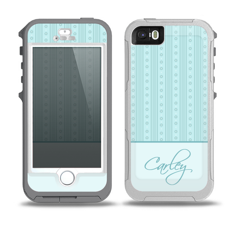 The Seamless Blue Subtle Floral Strips Name Script Skin for the iPhone 5-5s OtterBox Preserver WaterProof Case