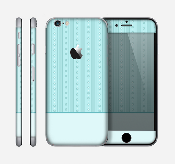 The Seamless Blue Subtle Floral Strips Skin for the Apple iPhone 6
