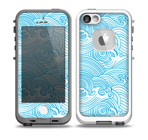 The Seamless Blue Waves Skin for the iPhone 5-5s fre LifeProof Case