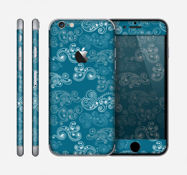 The Seamless Blue and White Paisley Swirl Skin for the Apple iPhone 6