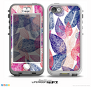 The Seamless Pink & Blue Color Leaves Skin for the iPhone 5-5s NUUD LifeProof Case for the LifeProof Skin