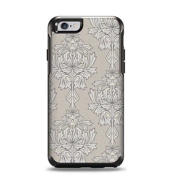The Seamless Tan Floral Pattern Apple iPhone 6 Otterbox Symmetry Case Skin Set