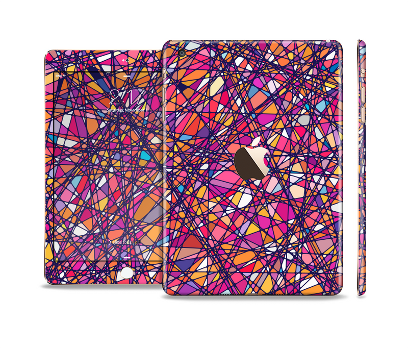 The Shards of Neon Color Full Body Skin Set for the Apple iPad Mini 3