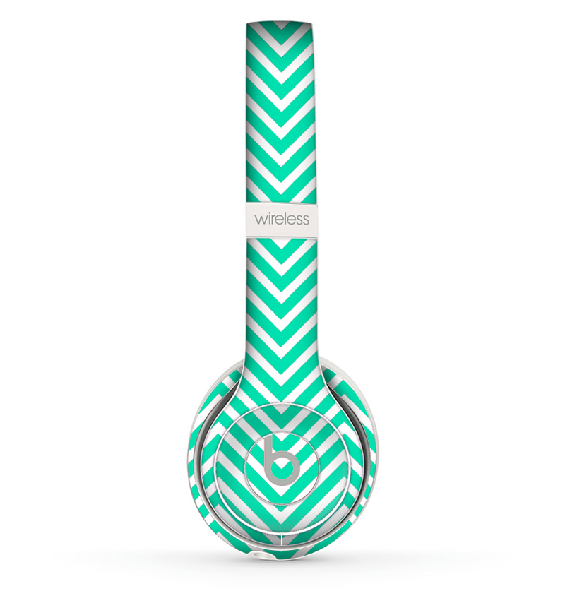 The Sharp Chevron White and Mint Green Skin Set for the Beats by Dre Solo 2 Wireless Headphones