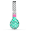 The Sharp Chevron White and Mint Green with Light Gray Polka and Pink Stripe Skin Set for the Beats by Dre Solo 2 Wireless Headphones