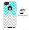 The Sharp Gray & Blue Chevron Skin For The iPhone 4-4s or 5-5s Otterbox Commuter Case