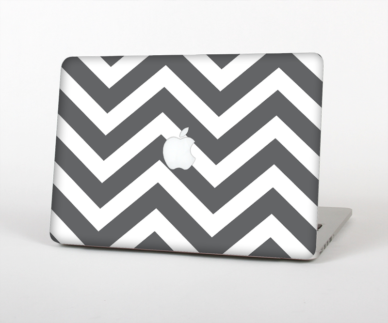 "The Sharp Gray & White Chevron Pattern Skin Set for the Apple MacBook Pro 15"" with Retina Display"