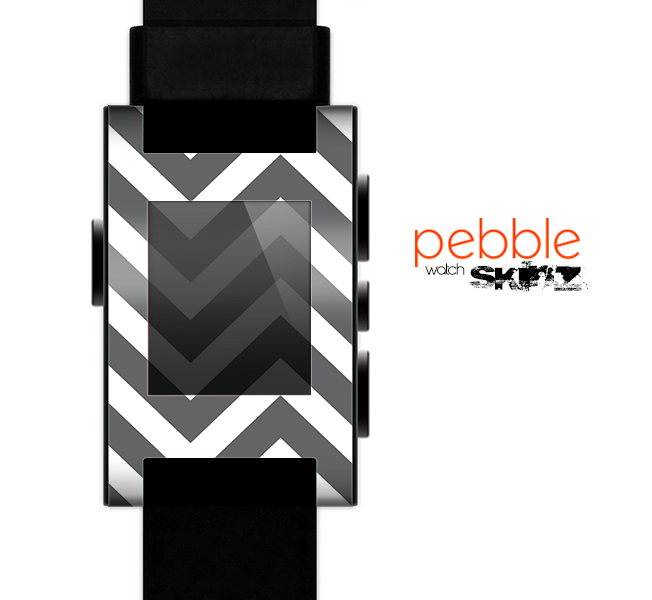 The Sharp Gray & White Chevron Pattern Skin for the Pebble SmartWatch