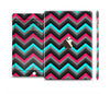 The Sharp Pink & Teal Chevron Pattern Full Body Skin Set for the Apple iPad Mini 3