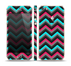 The Sharp Pink & Teal Chevron Pattern Skin Set for the Apple iPhone 5s