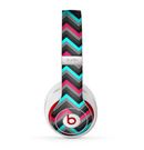The Sharp Pink & Teal Chevron Pattern Skin for the Beats by Dre Studio (2013+ Version) Headphones