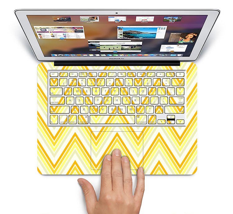 "The Sharp Vintage Yellow Chevron Skin Set for the Apple MacBook Pro 15"" with Retina Display"