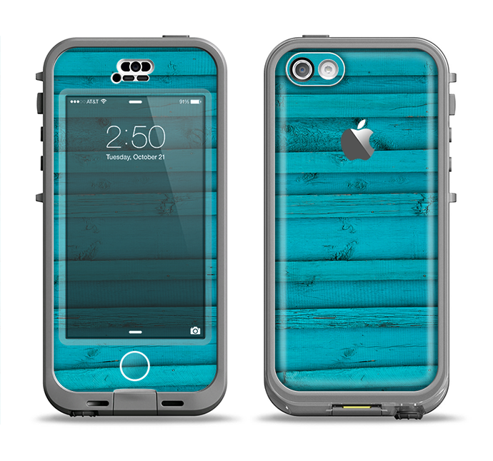 The Signature Blue Wood Planks Apple iPhone 5c LifeProof Nuud Case Skin Set