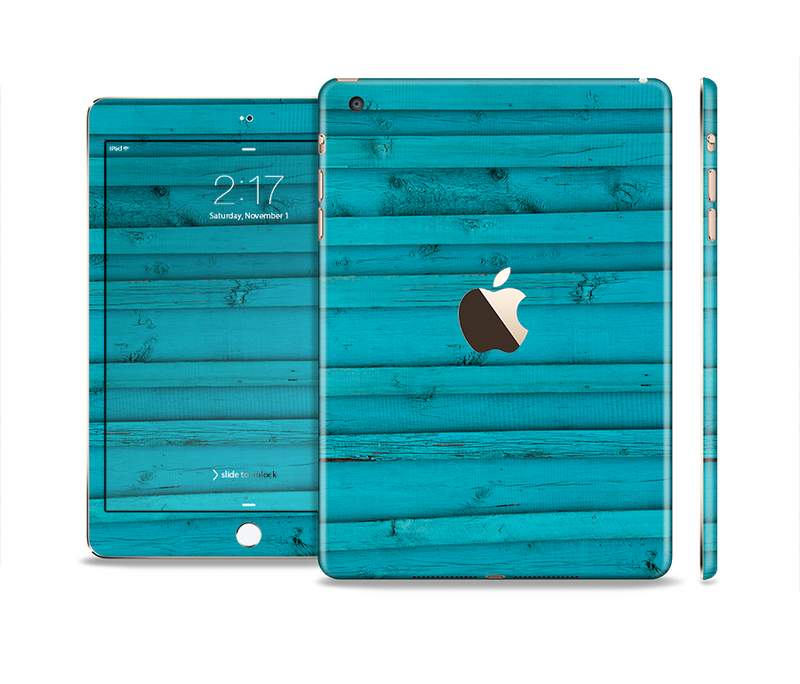 The Signature Blue Wood Planks Full Body Skin Set for the Apple iPad Mini 3