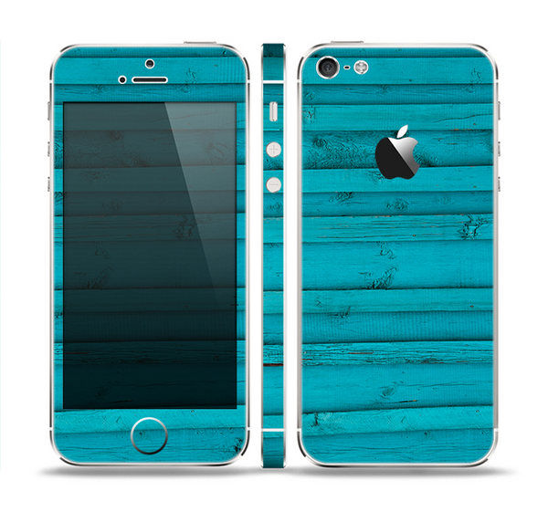The Signature Blue Wood Planks Skin Set for the Apple iPhone 5