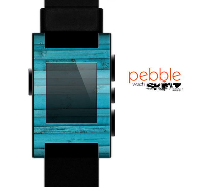 The Signature Blue Wood Planks Skin for the Pebble SmartWatch