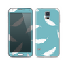 The Simple White Feathered Blue Skin For the Samsung Galaxy S5