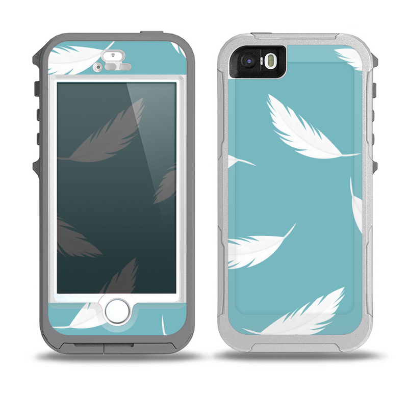 The Simple White Feathered Blue Skin for the iPhone 5-5s OtterBox Preserver WaterProof Case