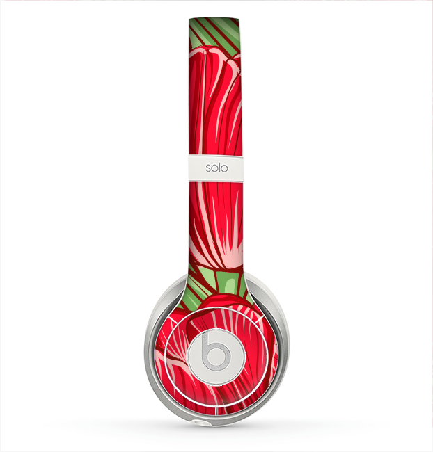 The Sketched Pink & Green Tulips Skin for the Beats by Dre Solo 2 Headphones