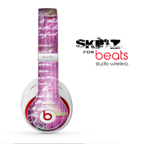 The Sketched Pink Word Surface Skin for the Beats by Dre Studio Wireless Headphones
