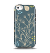 The Slate Blue and Coral Floral Sketched Lace Patterns v21 Apple iPhone 5c Otterbox Symmetry Case Skin Set