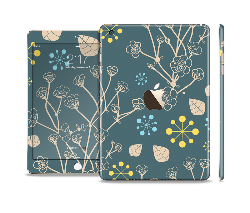 The Slate Blue and Coral Floral Sketched Lace Patterns v21 Full Body Skin Set for the Apple iPad Mini 3