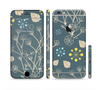 The Slate Blue and Coral Floral Sketched Lace Patterns v21 Sectioned Skin Series for the Apple iPhone 6 Plus