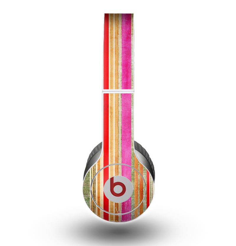 The Smudged Pink Painted Stripes Pattern Skin for the Beats by Dre Original Solo-Solo HD Headphones