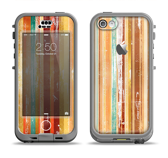 The Smudged Yellow Painted Stripes Pattern Apple iPhone 5c LifeProof Nuud Case Skin Set
