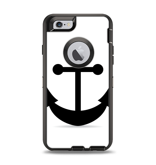 The Solid Black Anchor Silhouette Apple iPhone 6 Otterbox Defender Case Skin Set