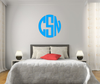 The Solid Blue Circle Monogram V1 Wall Decal