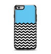 The Solid Blue with Black & White Chevron Pattern Apple iPhone 6 Otterbox Symmetry Case Skin Set