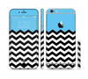 The Solid Blue with Black & White Chevron Pattern Sectioned Skin Series for the Apple iPhone 6 Plus