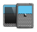 The Solid Blue with Black & White Chevron Pattern Apple iPad Air LifeProof Fre Case Skin Set
