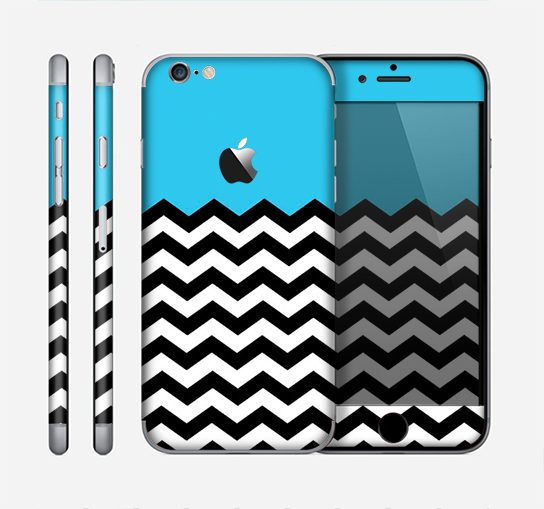 The Solid Blue with Black & White Chevron Pattern Skin for the Apple iPhone 6