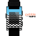 The Solid Blue with Black & White Chevron Pattern Skin for the Pebble SmartWatch
