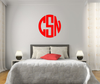 The Solid Bright Red Circle Monogram V1 Wall Decal
