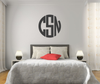 The Solid Dark Gray Circle Monogram V1 Wall Decal