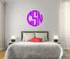 The Solid Dark Pink Circle Monogram V1 Wall Decal