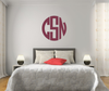 The Solid Dark Pink V2 Circle Monogram V1 Wall Decal