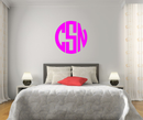 The Solid Hot Pink Circle Monogram V1 Wall Decal