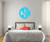 The Solid Light Blue Circle Monogram V1 Wall Decal