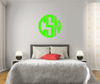 The Solid Lime Green Circle Monogram V1 Wall Decal