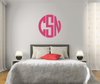 The Solid Dark Teal Circle Monogram V1 Wall Decal