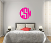The Solid Pink Circle Monogram V1 Wall Decal