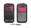 The Solid Pink with Black & White Chevron Pattern Skin For The Samsung Galaxy S3 LifeProof Case